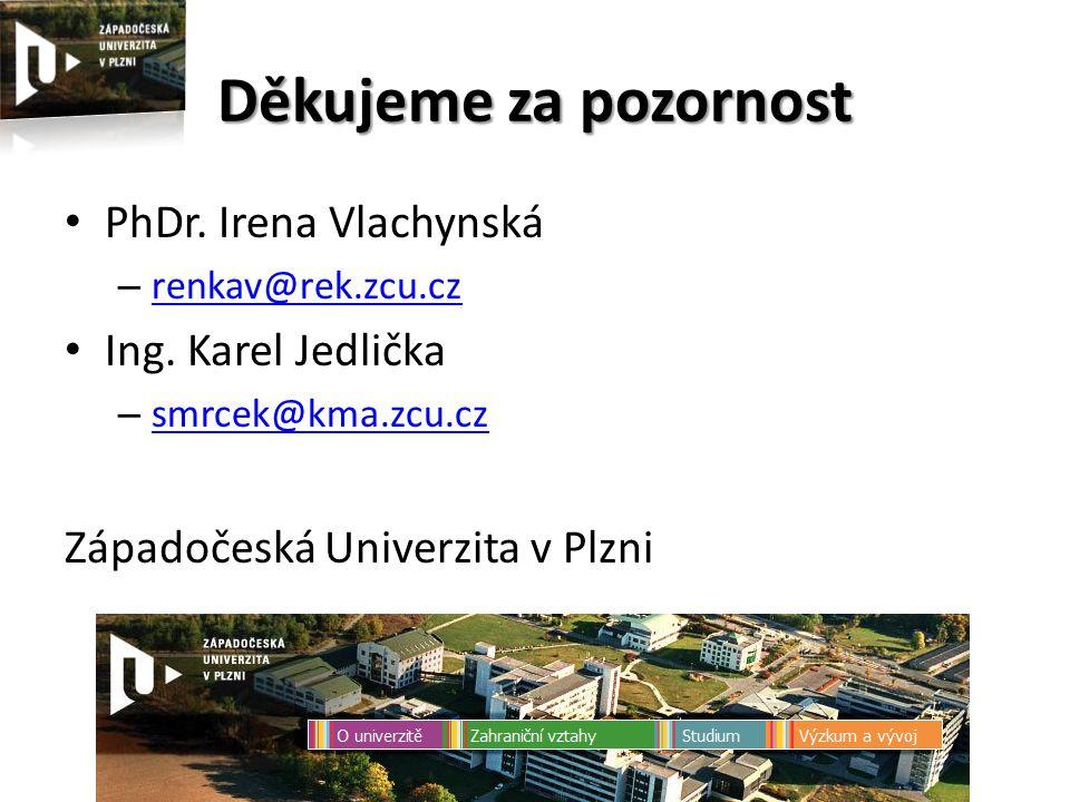 Děkujeme za pozornost PhDr. Irena Vlachynská – renkav@rek.zcu.cz renkav@rek.zcu.cz Ing.