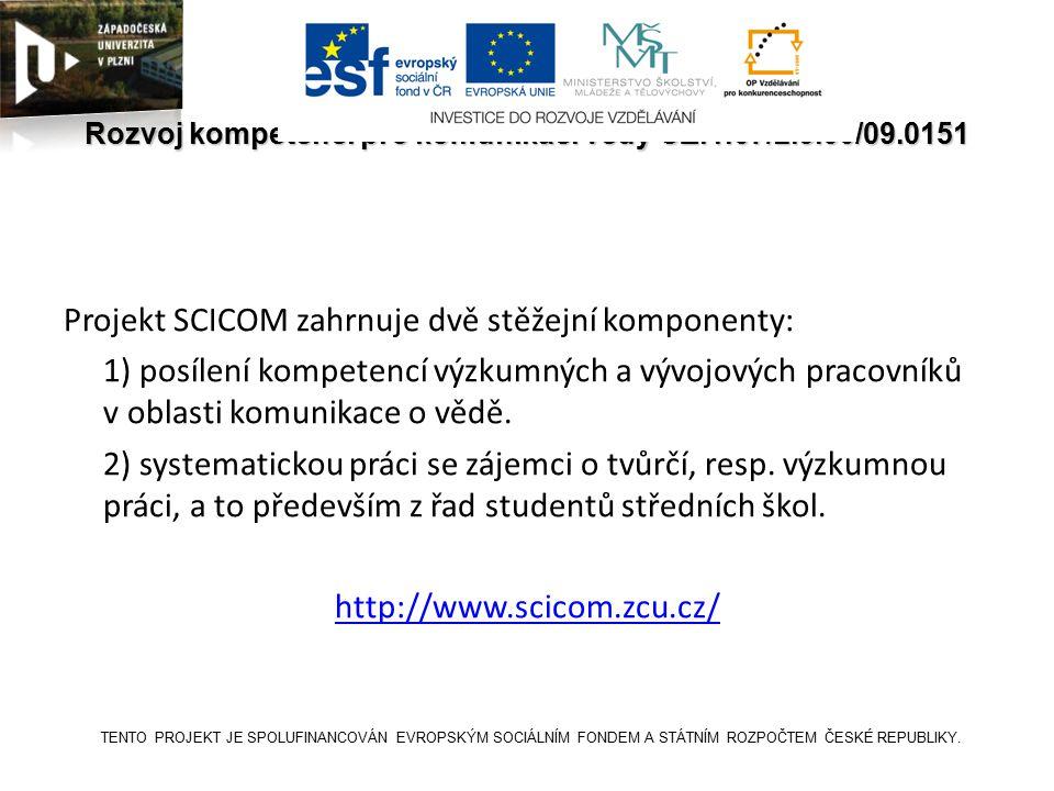 SCICOM Rozvoj kompetencí pro komunikaci vědy CZ.1.07/2.3.00/09.0151 Projekt SCICOM zahrnuje dvě stěžejní komponenty: 1) posílení kompetencí výzkumných a vývojových pracovníků v oblasti komunikace o vědě.