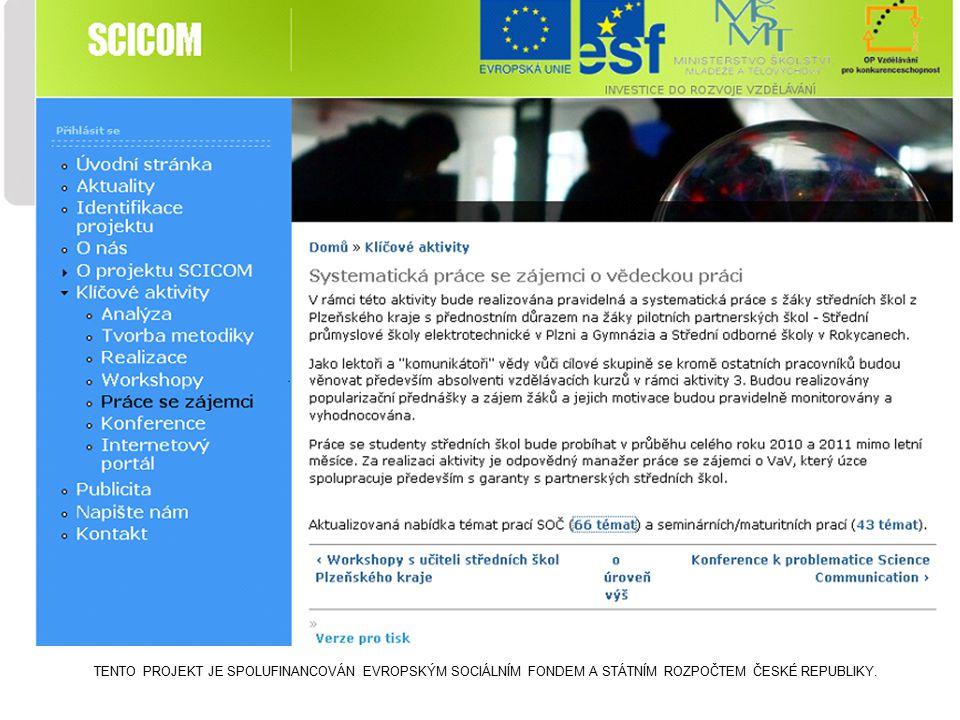 SCICOM Rozvoj kompetencí pro komunikaci vědy CZ.1.07/2.3.00/09.0151 Nabídka témat prací SOČ – 66 Nabídka témat maturitních/seminárních prací – 43 TENTO PROJEKT JE SPOLUFINANCOVÁN EVROPSKÝM SOCIÁLNÍM FONDEM A STÁTNÍM ROZPOČTEM ČESKÉ REPUBLIKY.