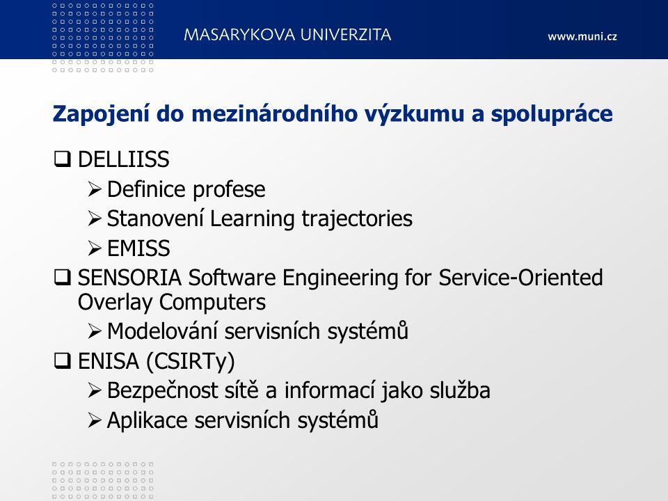 Zapojení do mezinárodního výzkumu a spolupráce  DELLIISS  Definice profese  Stanovení Learning trajectories  EMISS  SENSORIA Software Engineering