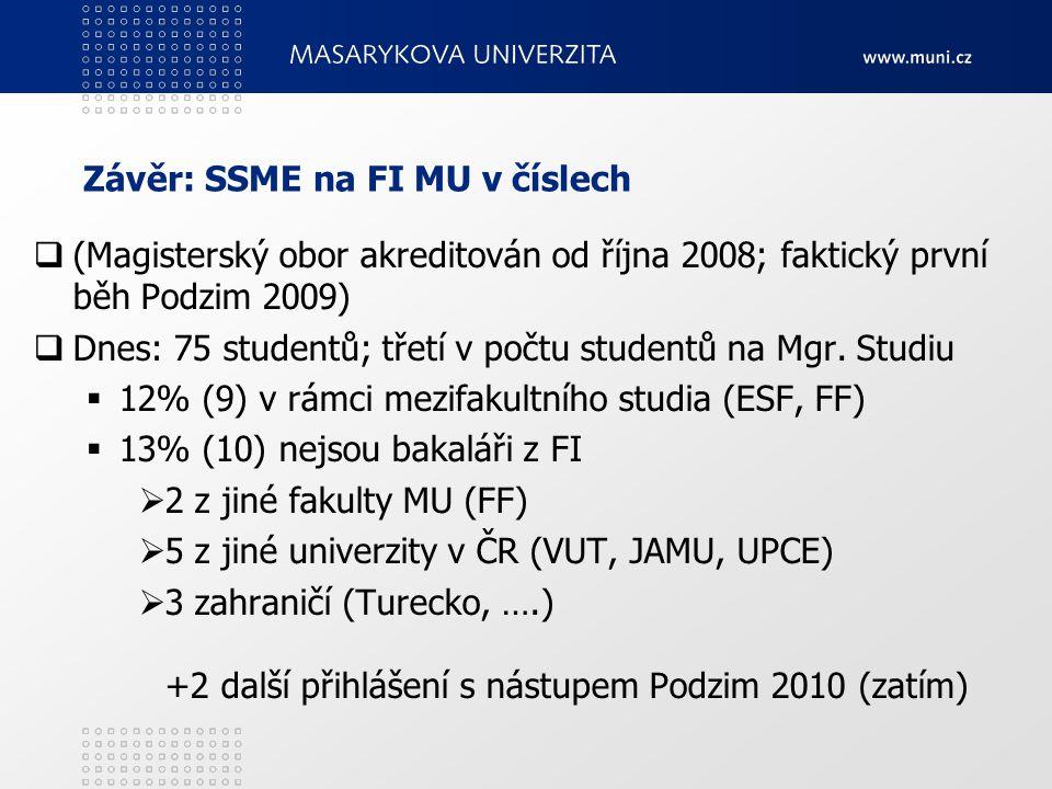 Závěr: SSME na FI MU v číslech  (Magisterský obor akreditován od října 2008; faktický první běh Podzim 2009)  Dnes: 75 studentů; třetí v počtu studentů na Mgr.