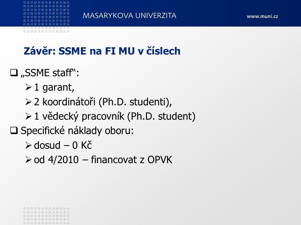 "Závěr: SSME na FI MU v číslech  ""SSME staff"":  1 garant,  2 koordinátoři (Ph.D. studenti),  1 vědecký pracovník (Ph.D. student)  Specifické nákla"