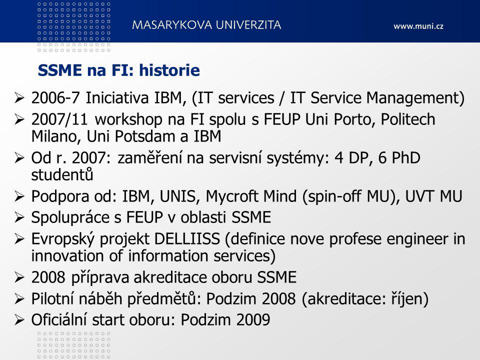 SSME na FI: historie  2006-7 Iniciativa IBM, (IT services / IT Service Management)  2007/11 workshop na FI spolu s FEUP Uni Porto, Politech Milano, Uni Potsdam a IBM  Od r.