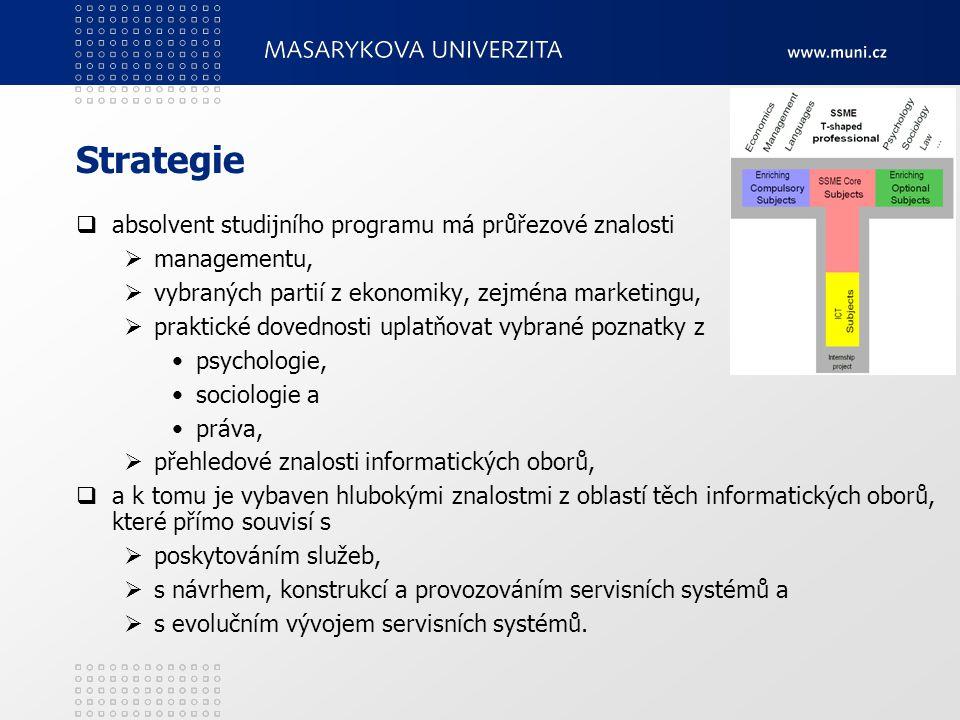 Strategie  absolvent studijního programu má průřezové znalosti  managementu,  vybraných partií z ekonomiky, zejména marketingu,  praktické dovednosti uplatňovat vybrané poznatky z psychologie, sociologie a práva,  přehledové znalosti informatických oborů,  a k tomu je vybaven hlubokými znalostmi z oblastí těch informatických oborů, které přímo souvisí s  poskytováním služeb,  s návrhem, konstrukcí a provozováním servisních systémů a  s evolučním vývojem servisních systémů.