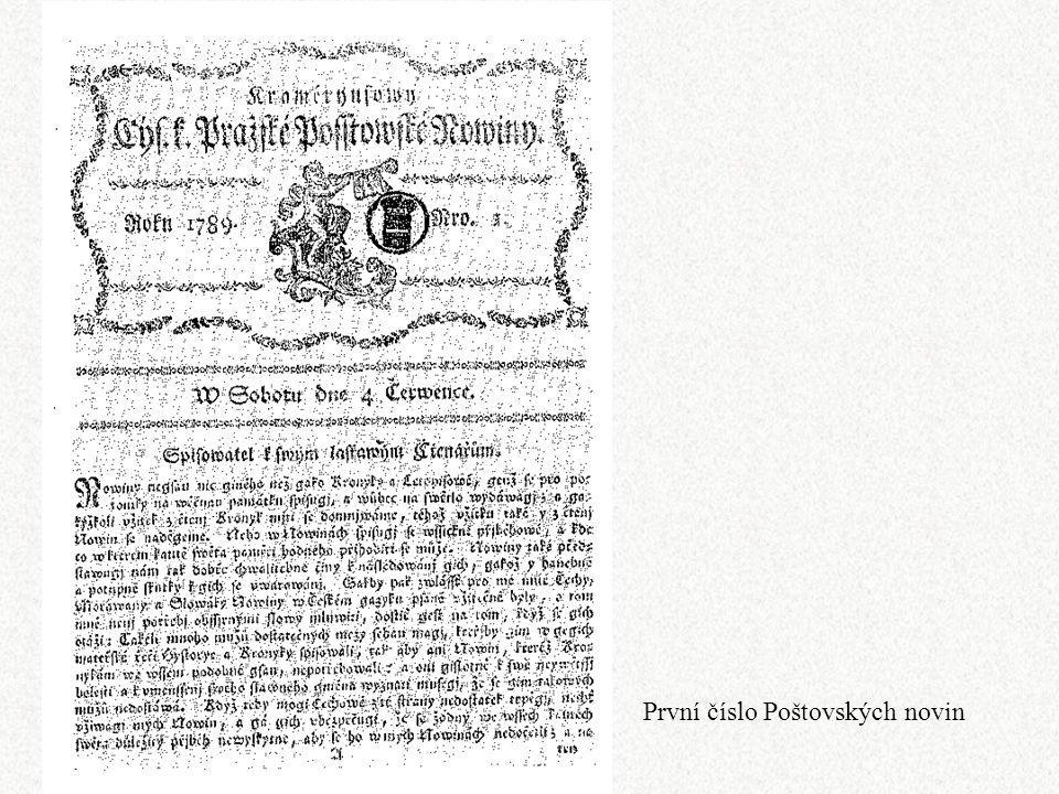 První číslo Poštovských novin