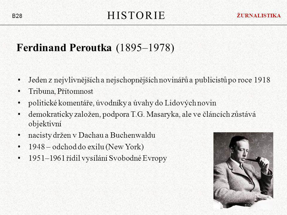 Ferdinand Peroutka (1895–1978) Jeden z nejvlivnějších a nejschopnějších novinářů a publicistů po roce 1918 Tribuna, Přítomnost politické komentáře, úvodníky a úvahy do Lidových novin demokraticky založen, podpora T.G.