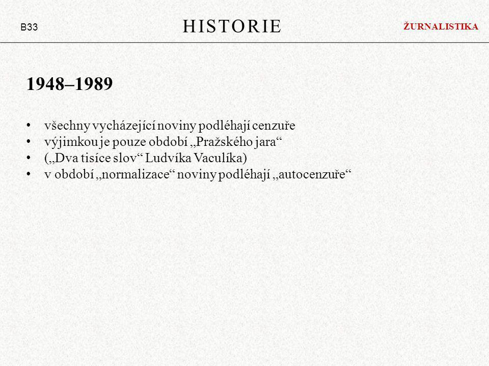 """HISTORIE B33 1948–1989 všechny vycházející noviny podléhají cenzuře výjimkou je pouze období """"Pražského jara (""""Dva tisíce slov Ludvíka Vaculíka) v období """"normalizace noviny podléhají """"autocenzuře ŽURNALISTIKA"""