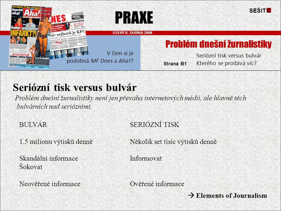 PRAXE ÚTERÝ 8. DUBNA 2008 Problém dnešní žurnalistiky Seriózní tisk versus bulvár Kterého se prodává víc? V čem si je podobná MF Dnes a Aha!? SEŠIT C