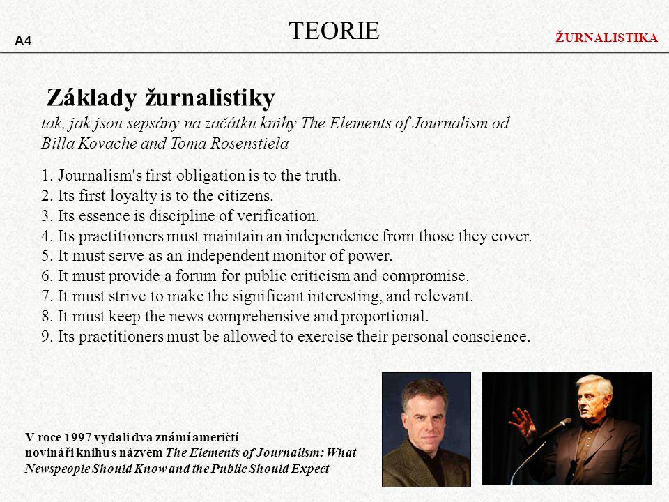 ŽURNALISTIKA TEORIE Základy žurnalistiky 1.Journalism s first obligation is to the truth.