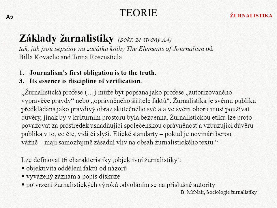 ŽURNALISTIKA TEORIE Základy žurnalistiky (pokr. ze strany A4) tak, jak jsou sepsány na začátku knihy The Elements of Journalism od Billa Kovache and T