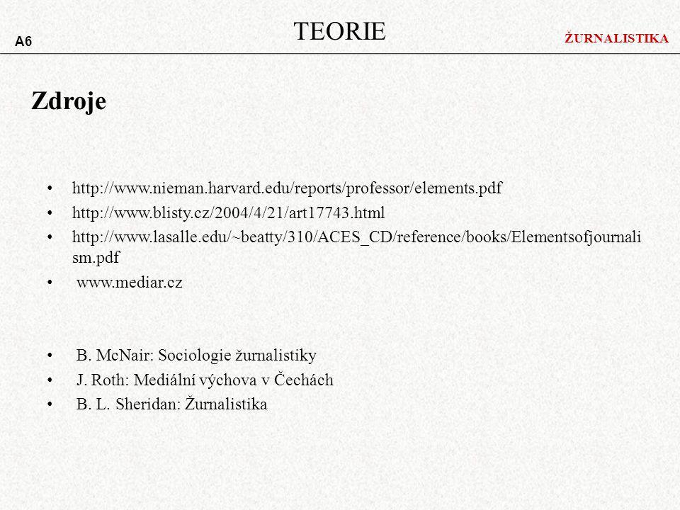 ŽURNALISTIKA TEORIE A6 http://www.nieman.harvard.edu/reports/professor/elements.pdf http://www.blisty.cz/2004/4/21/art17743.html http://www.lasalle.edu/~beatty/310/ACES_CD/reference/books/Elementsofjournali sm.pdf www.mediar.cz B.