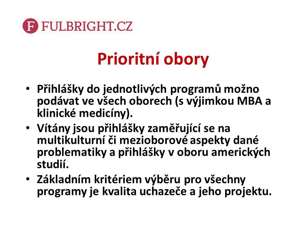 Prioritní obory Přihlášky do jednotlivých programů možno podávat ve všech oborech (s výjimkou MBA a klinické medicíny). Vítány jsou přihlášky zaměřují