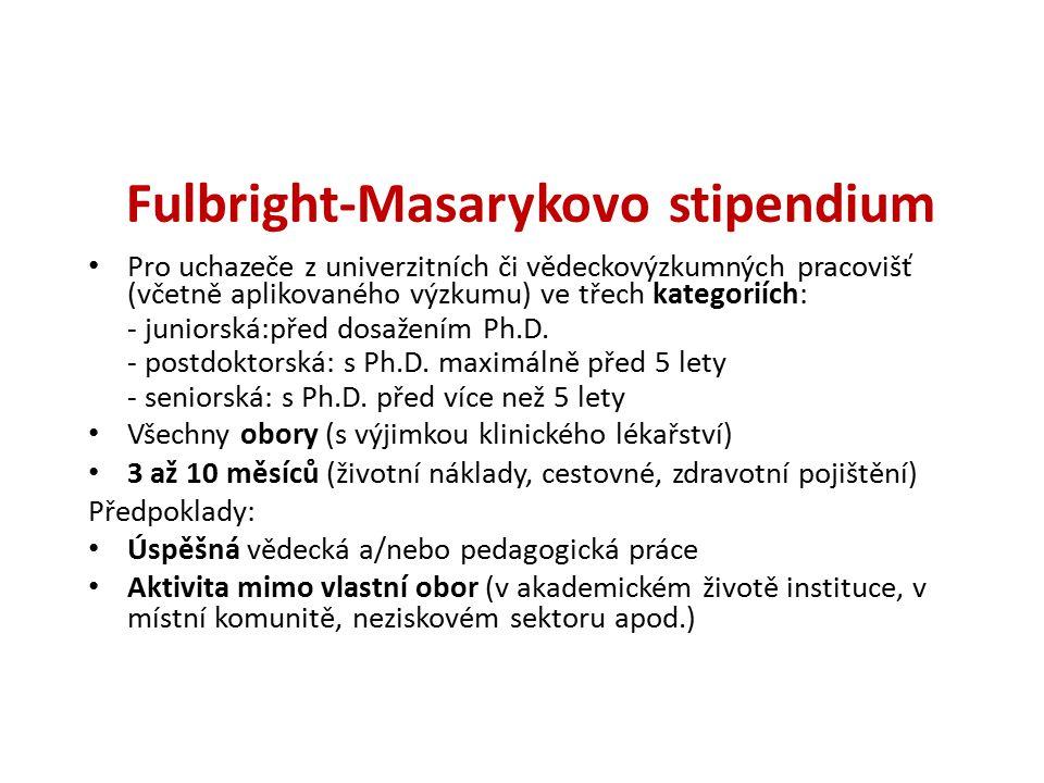 Fulbright-Masarykovo stipendium (pokr.) Online přihláška Kvalitní výzkumný projekt (odborná oponentura) CV (včetně přehledu publikací) Pozvání instituce v USA Tři doporučující dopisy (online) Termín odevzdání přihlášek 1.