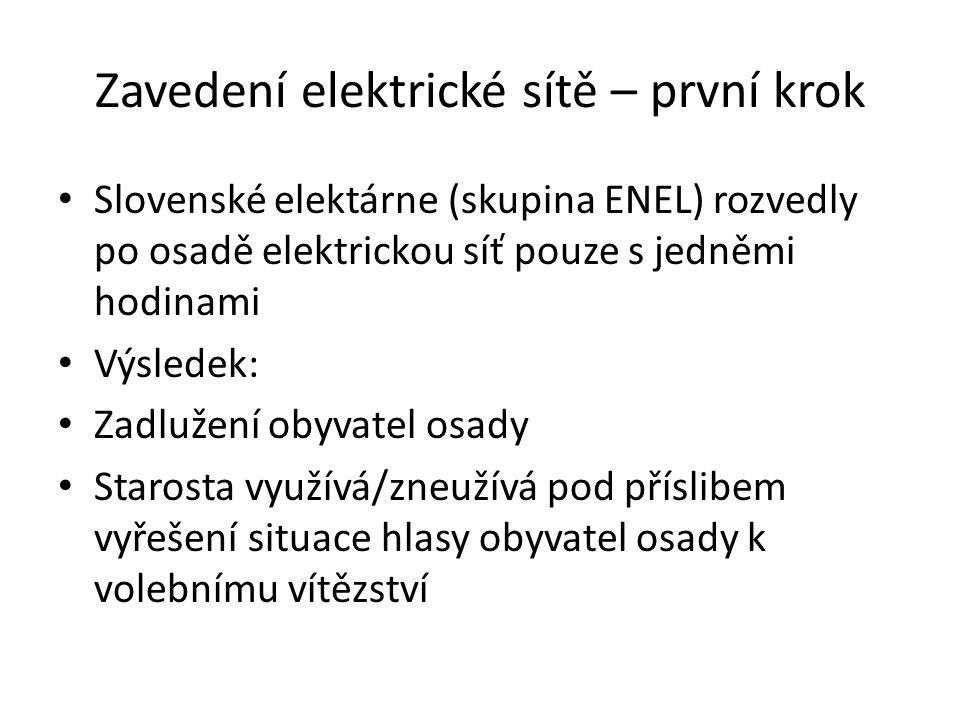 Zavedení elektrické sítě – první krok Slovenské elektárne (skupina ENEL) rozvedly po osadě elektrickou síť pouze s jedněmi hodinami Výsledek: Zadlužen