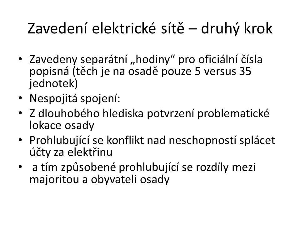 """Zavedení elektrické sítě – druhý krok Zavedeny separátní """"hodiny"""" pro oficiální čísla popisná (těch je na osadě pouze 5 versus 35 jednotek) Nespojitá"""