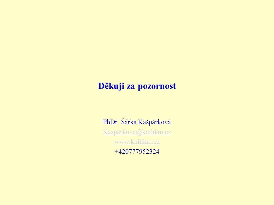 Děkuji za pozornost PhDr. Šárka Kašpárková Kasparkova@knihkm.cz www.knihkm.cz +420777952324