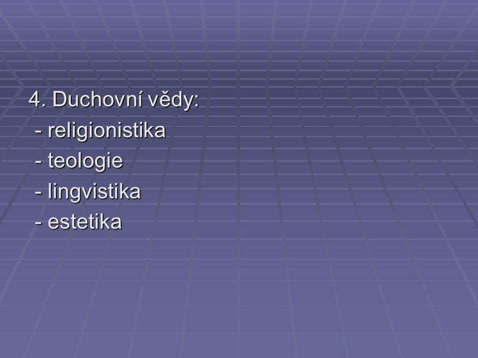 4. Duchovní vědy: - religionistika - religionistika - teologie - teologie - lingvistika - lingvistika - estetika - estetika