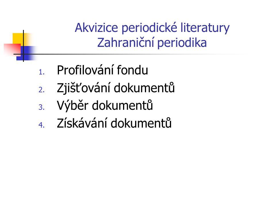 Akvizice periodické literatury Zahraniční periodika Získávání dokumentů  Nákup  Výměna  Dary  Retrospektivní doplňování