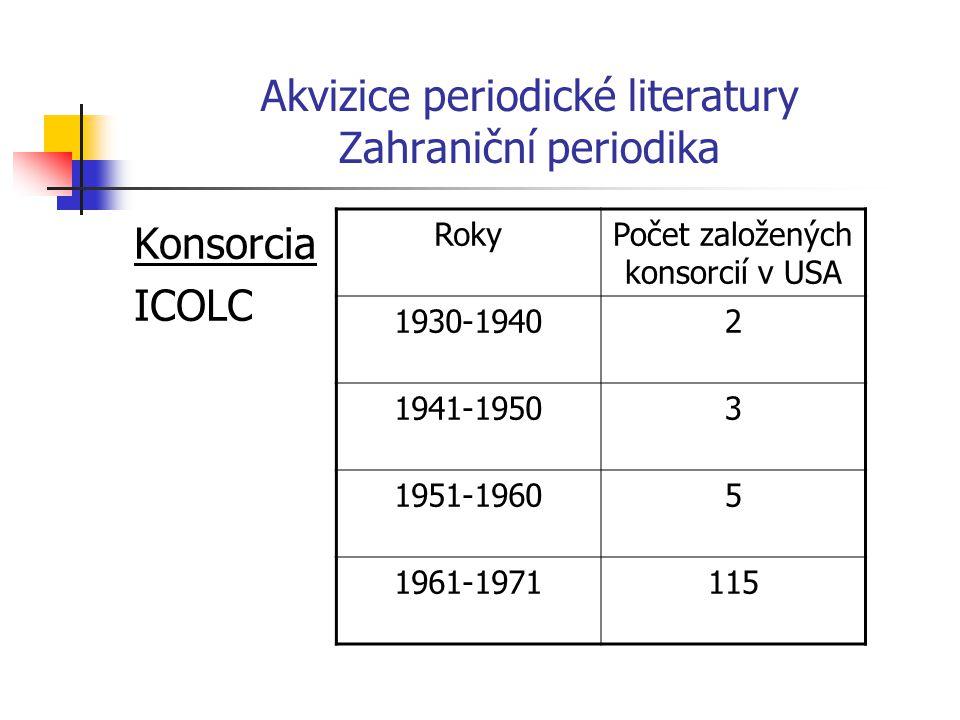 Akvizice periodické literatury Zahraniční periodika Konsorcia ICOLC RokyPočet založených konsorcií v USA 1930-19402 1941-19503 1951-19605 1961-1971115