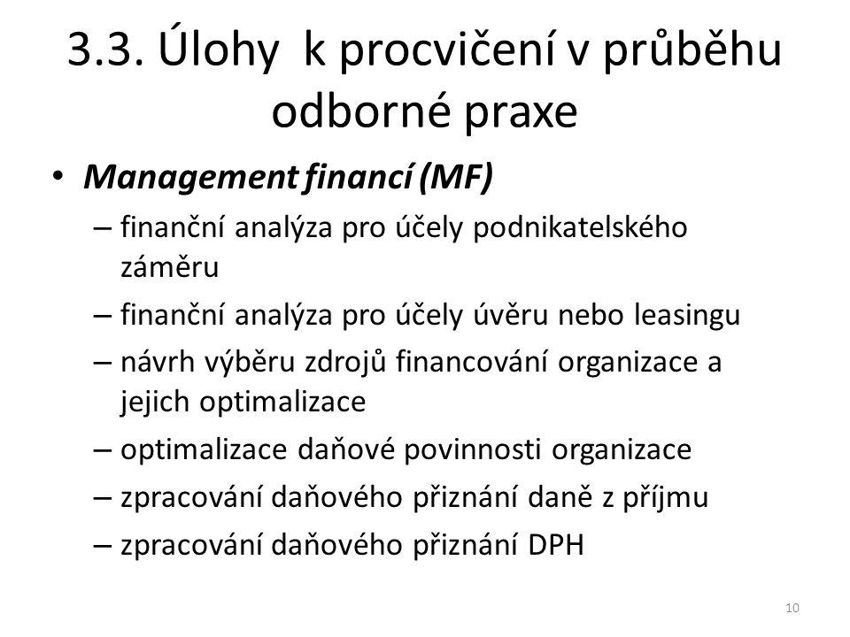 3.3. Úlohy k procvičení v průběhu odborné praxe Management financí (MF) – finanční analýza pro účely podnikatelského záměru – finanční analýza pro úče