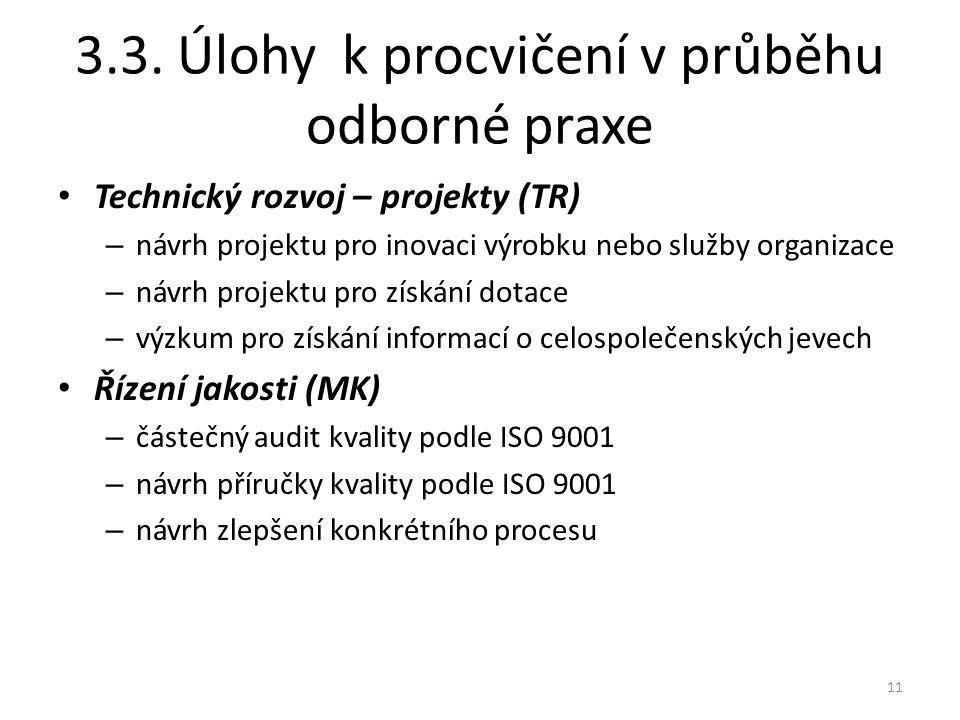 3.3. Úlohy k procvičení v průběhu odborné praxe Technický rozvoj – projekty (TR) – návrh projektu pro inovaci výrobku nebo služby organizace – návrh p