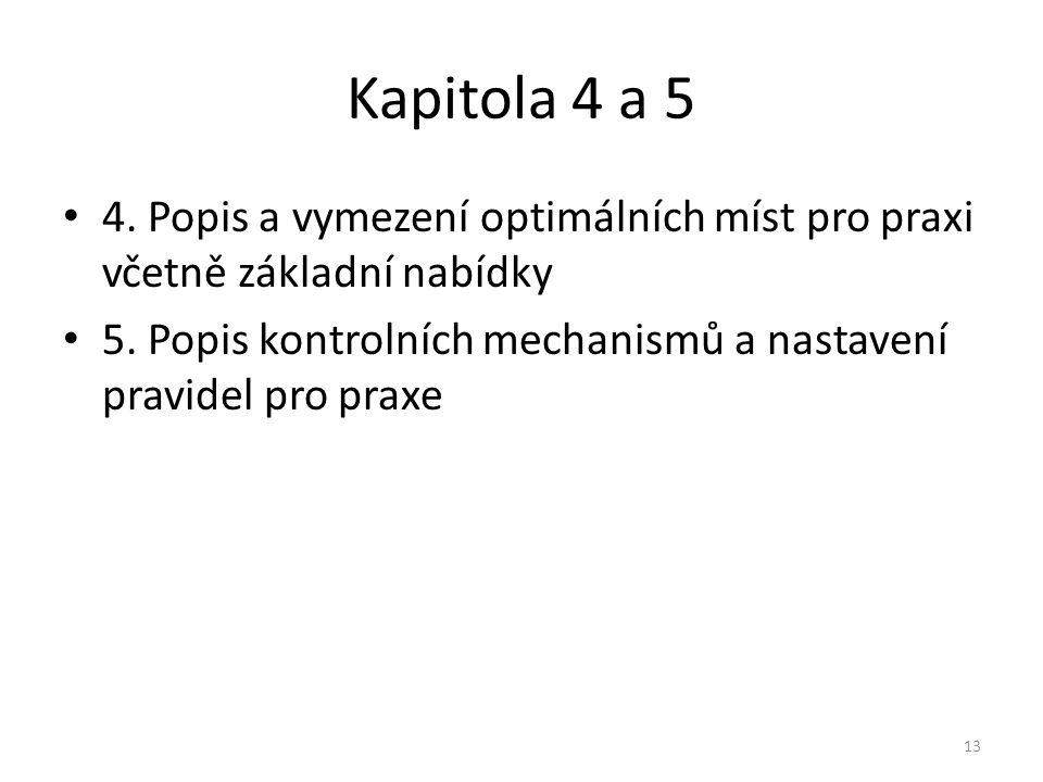 Kapitola 4 a 5 4.Popis a vymezení optimálních míst pro praxi včetně základní nabídky 5.