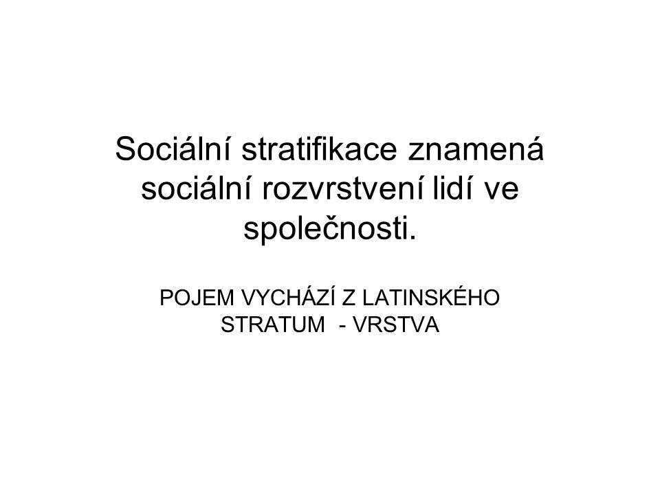 Sociální stratifikace znamená sociální rozvrstvení lidí ve společnosti.