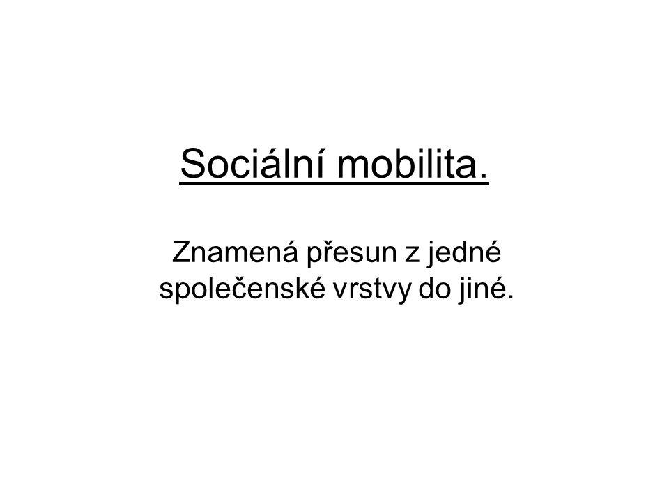 Sociální mobilita. Znamená přesun z jedné společenské vrstvy do jiné.