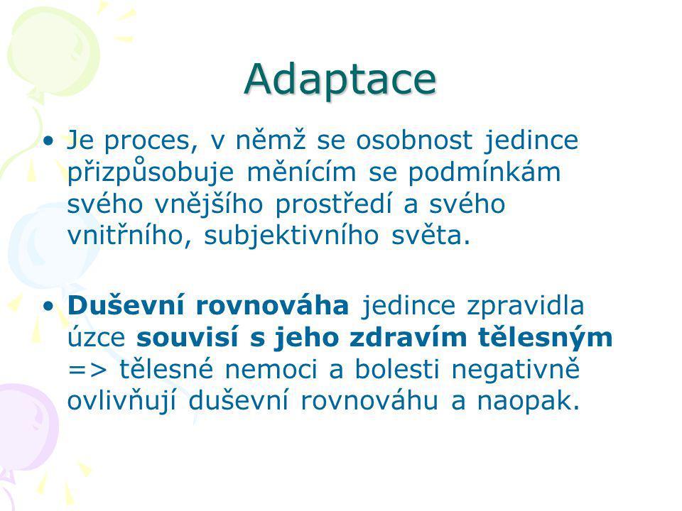 Adaptace Je proces, v němž se osobnost jedince přizpůsobuje měnícím se podmínkám svého vnějšího prostředí a svého vnitřního, subjektivního světa.