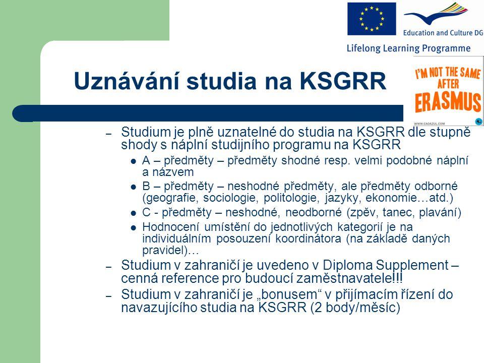 Uznávání studia na KSGRR – Studium je plně uznatelné do studia na KSGRR dle stupně shody s náplní studijního programu na KSGRR A – předměty – předměty shodné resp.