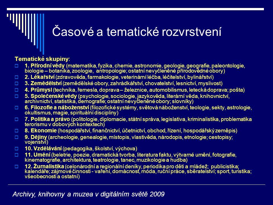 Časové a tematické rozvrstvení Tematické skupiny:  1.