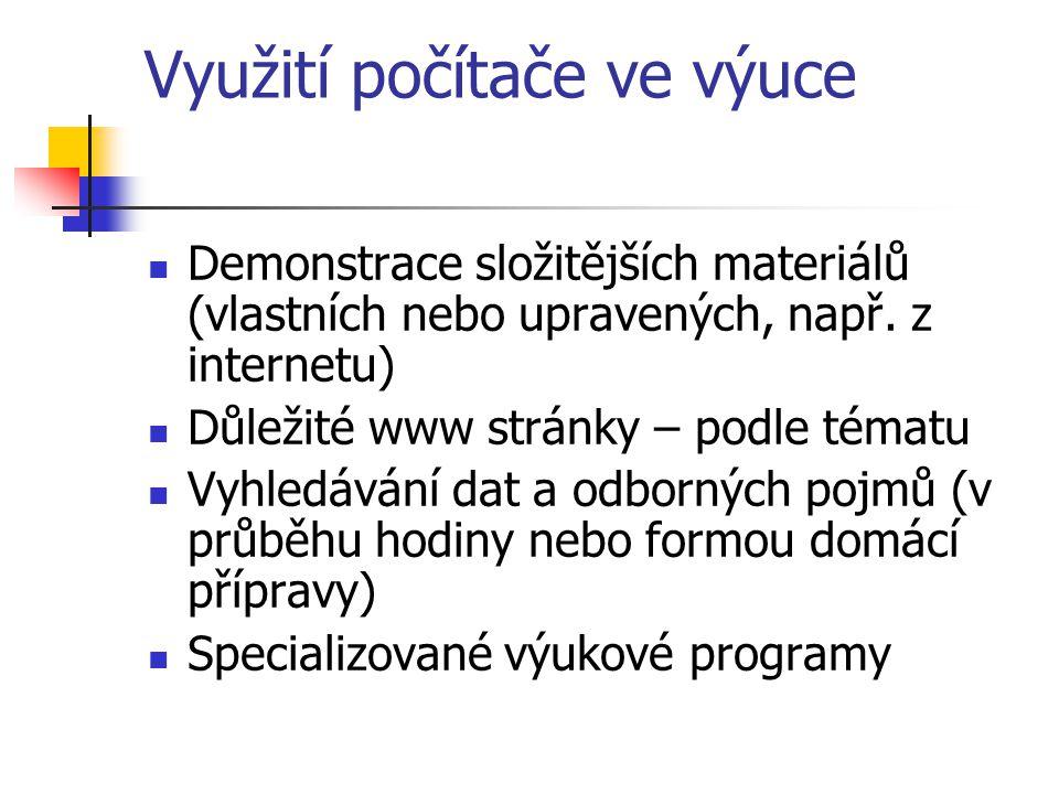 Využití počítače ve výuce Demonstrace složitějších materiálů (vlastních nebo upravených, např.
