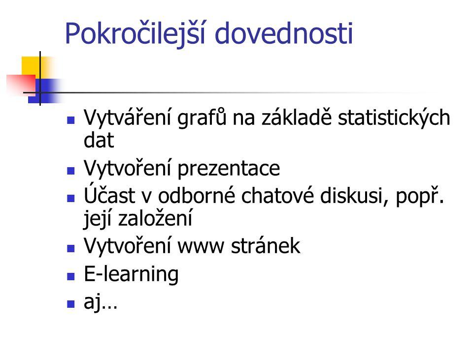 Pokročilejší dovednosti Vytváření grafů na základě statistických dat Vytvoření prezentace Účast v odborné chatové diskusi, popř.