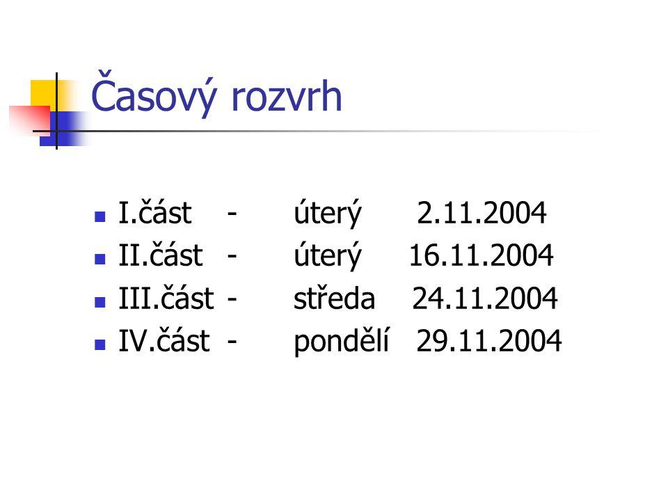 Časový rozvrh I.část-úterý 2.11.2004 II.část-úterý 16.11.2004 III.část-středa 24.11.2004 IV.část-pondělí 29.11.2004