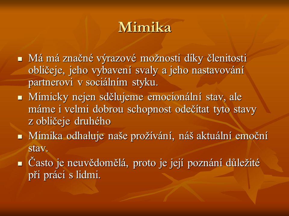 Mimika Má má značné výrazové možnosti díky členitosti obličeje, jeho vybavení svaly a jeho nastavování partnerovi v sociálním styku.
