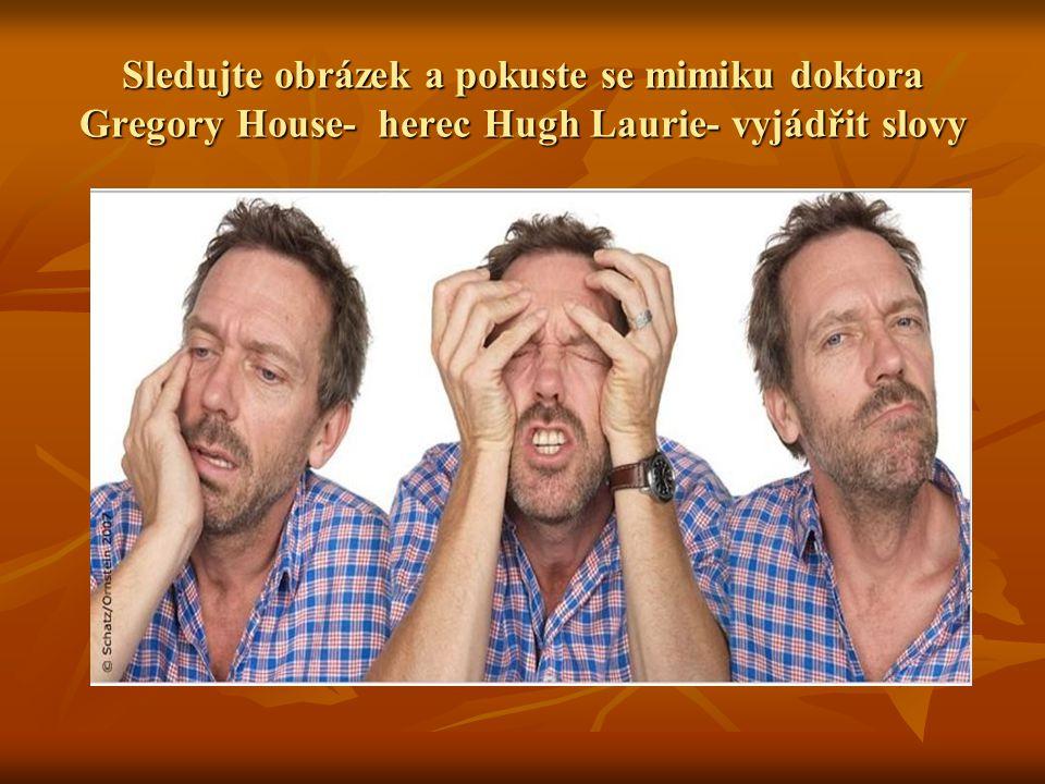 Sledujte obrázek a pokuste se mimiku doktora Gregory House- herec Hugh Laurie- vyjádřit slovy