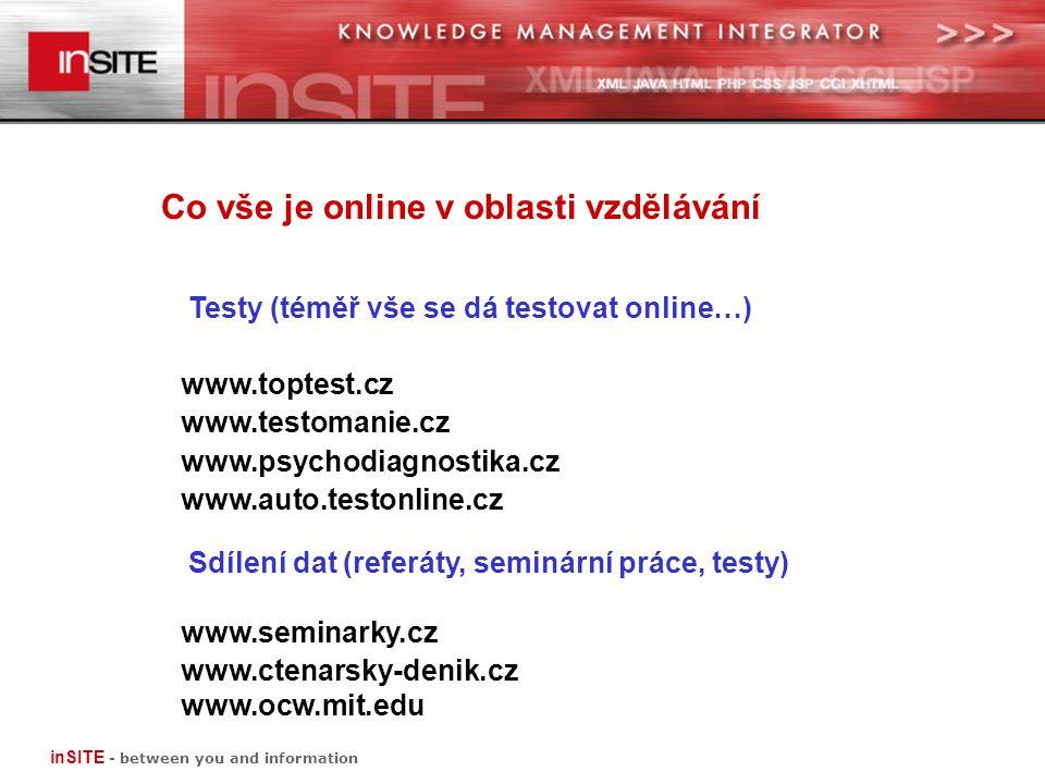 Co vše je online v oblasti vzdělávání Testy (téměř vše se dá testovat online…) www.toptest.cz www.testomanie.cz www.psychodiagnostika.cz www.auto.testonline.cz Sdílení dat (referáty, seminární práce, testy) www.seminarky.cz www.ctenarsky-denik.cz www.ocw.mit.edu inSITE - between you and information