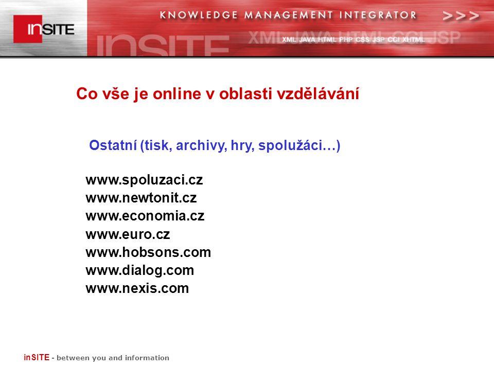 Co vše je online v oblasti vzdělávání Ostatní (tisk, archivy, hry, spolužáci…) www.spoluzaci.cz www.newtonit.cz www.economia.cz www.euro.cz www.hobsons.com www.dialog.com www.nexis.com inSITE - between you and information