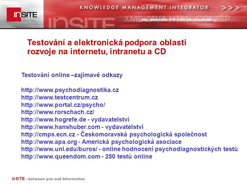 Testování a elektronická podpora oblasti rozvoje na internetu, intranetu a CD inSITE - between you and information Testování online –zajímavé odkazy http://www.psychodiagnostika.cz http://www.testcentrum.cz http://www.portal.cz/psycho/ http://www.rorschach.cz/ http://www.hogrefe.de - vydavatelství http://www.hanshuber.com - vydavatelství http://cmps.ecn.cz - Českomoravská psychologická společnost http://www.apa.org - Americká psychologická asociace http://www.unl.edu/buros/ - online hodnocení psychodiagnostických testů http://www.queendom.com - 250 testů online