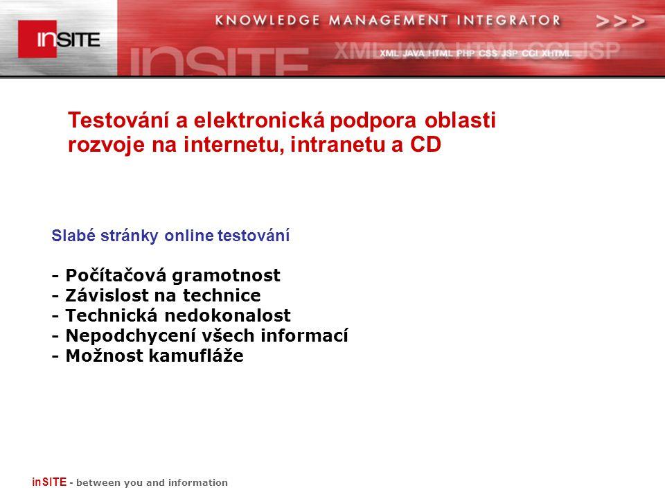 Testování a elektronická podpora oblasti rozvoje na internetu, intranetu a CD inSITE - between you and information Slabé stránky online testování - Počítačová gramotnost - Závislost na technice - Technická nedokonalost - Nepodchycení všech informací - Možnost kamufláže