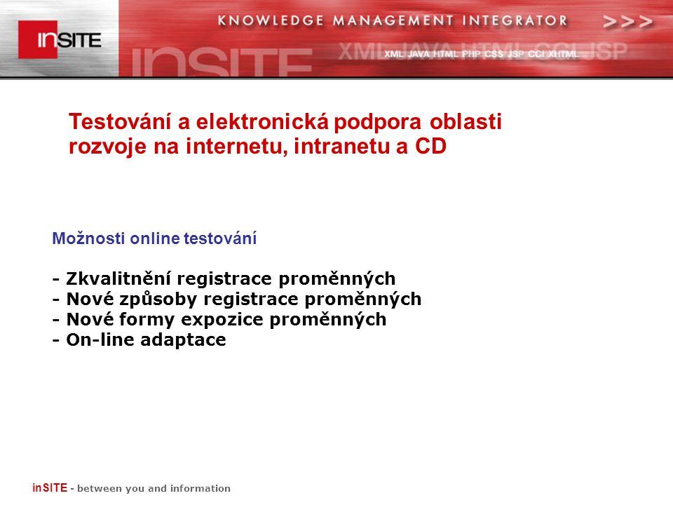Testování a elektronická podpora oblasti rozvoje na internetu, intranetu a CD inSITE - between you and information Možnosti online testování - Zkvalitnění registrace proměnných - Nové způsoby registrace proměnných - Nové formy expozice proměnných - On-line adaptace