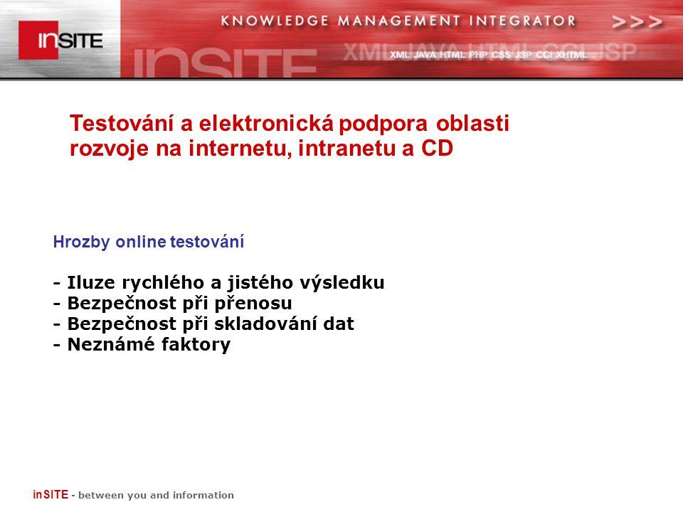 Testování a elektronická podpora oblasti rozvoje na internetu, intranetu a CD inSITE - between you and information Hrozby online testování - Iluze rychlého a jistého výsledku - Bezpečnost při přenosu - Bezpečnost při skladování dat - Neznámé faktory