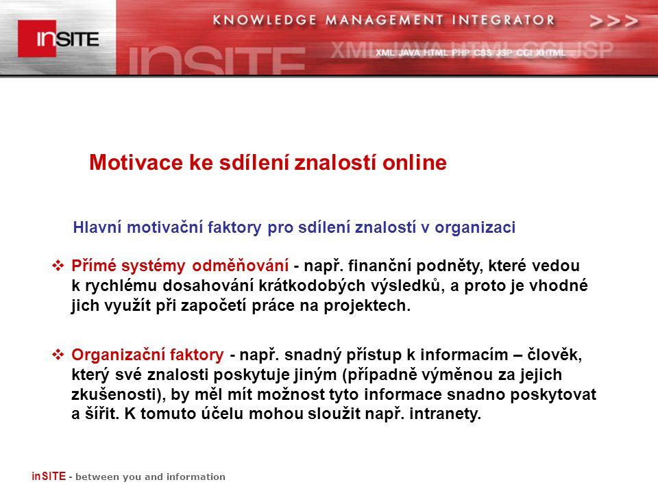 Motivace ke sdílení znalostí online inSITE - between you and information  Přímé systémy odměňování - např.