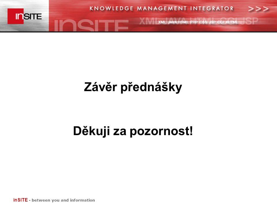 Závěr přednášky Děkuji za pozornost! inSITE - between you and information