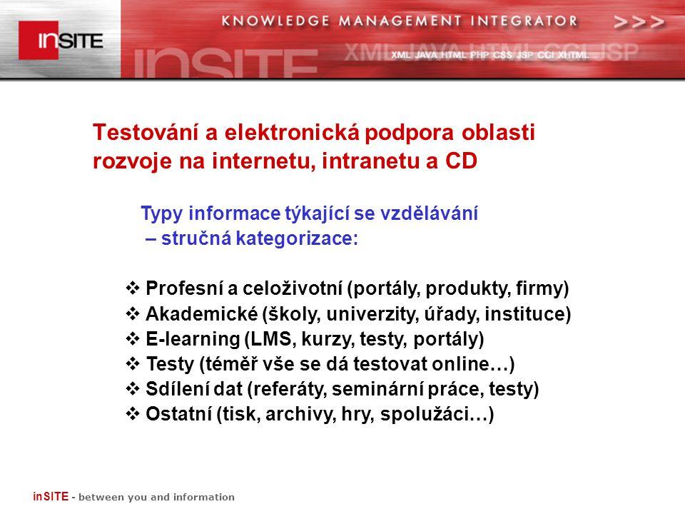Testování a elektronická podpora oblasti rozvoje na internetu, intranetu a CD Typy informace týkající se vzdělávání – stručná kategorizace:  Profesní a celoživotní (portály, produkty, firmy)  Akademické (školy, univerzity, úřady, instituce)  E-learning (LMS, kurzy, testy, portály)  Testy (téměř vše se dá testovat online…)  Sdílení dat (referáty, seminární práce, testy)  Ostatní (tisk, archivy, hry, spolužáci…) inSITE - between you and information