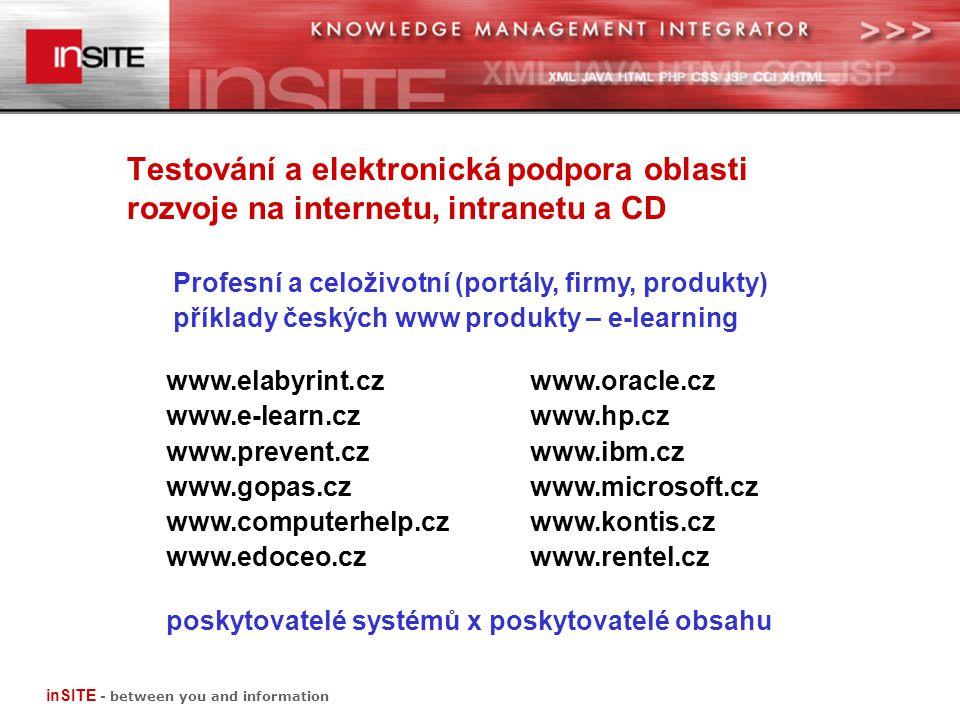 Testování a elektronická podpora oblasti rozvoje na internetu, intranetu a CD Profesní a celoživotní (portály, firmy, produkty) příklady českých www produkty – e-learning www.elabyrint.cz www.oracle.cz www.e-learn.czwww.hp.cz www.prevent.czwww.ibm.cz www.gopas.czwww.microsoft.cz www.computerhelp.cz www.kontis.cz www.edoceo.czwww.rentel.cz poskytovatelé systémů x poskytovatelé obsahu inSITE - between you and information