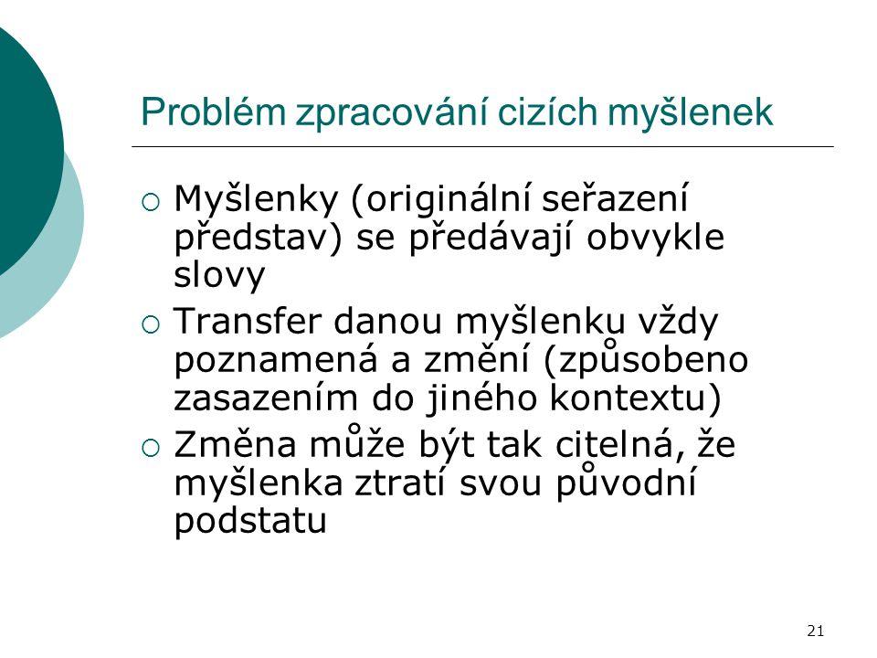 21 Problém zpracování cizích myšlenek  Myšlenky (originální seřazení představ) se předávají obvykle slovy  Transfer danou myšlenku vždy poznamená a