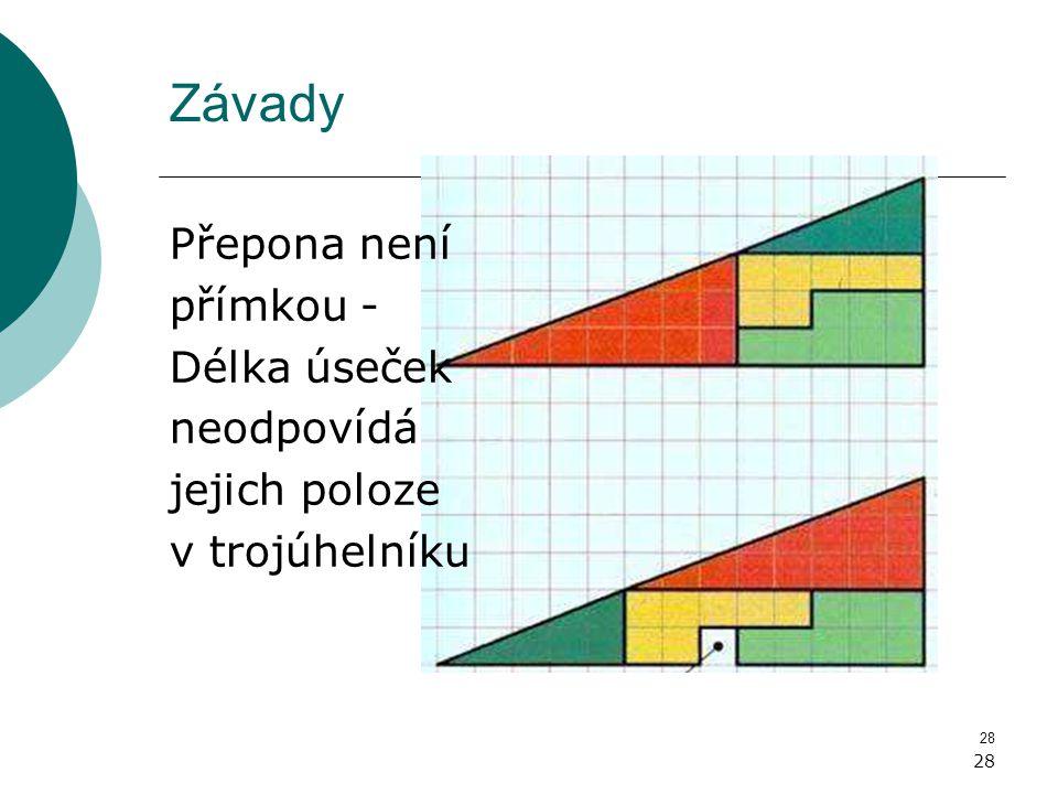 28 Závady Přepona není přímkou - Délka úseček neodpovídá jejich poloze v trojúhelníku