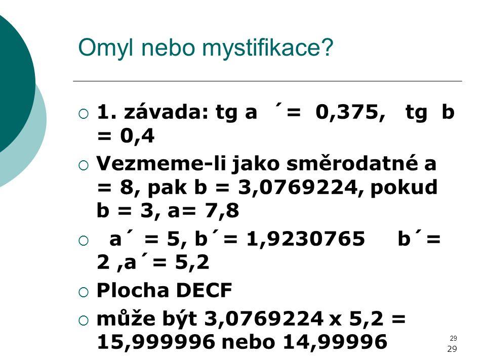 29 Omyl nebo mystifikace?  1. závada: tg a ´= 0,375, tg b = 0,4  Vezmeme-li jako směrodatné a = 8, pak b = 3,0769224, pokud b = 3, a= 7,8  a´ = 5,