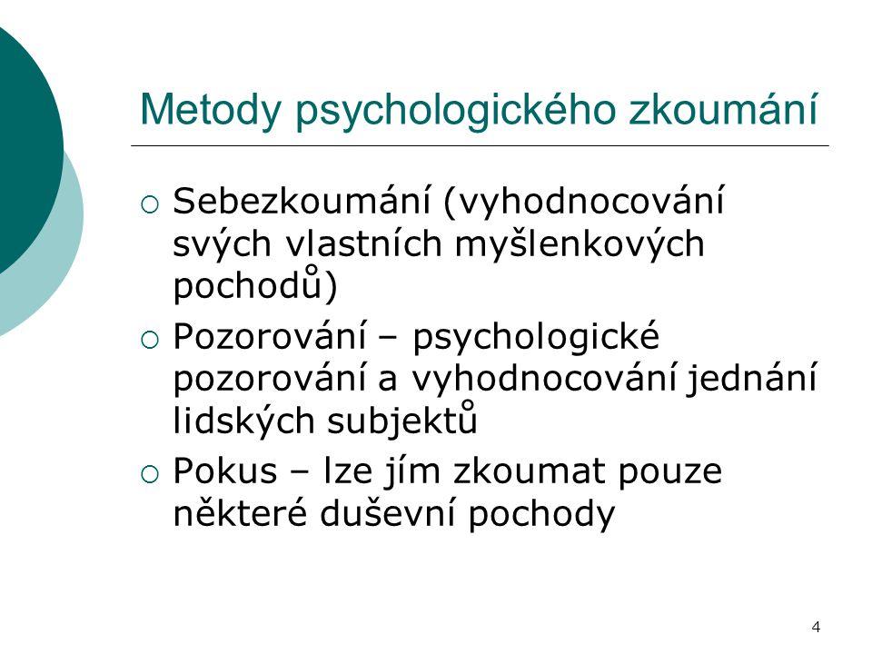 4 Metody psychologického zkoumání  Sebezkoumání (vyhodnocování svých vlastních myšlenkových pochodů)  Pozorování – psychologické pozorování a vyhodnocování jednání lidských subjektů  Pokus – lze jím zkoumat pouze některé duševní pochody